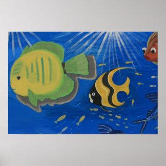 Fish swimming poster