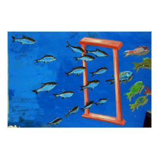 Fish swimming through a frame poster