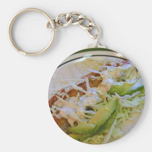 Fish Tacos Food Cabbage Tortillas Basic Round Button Keychain