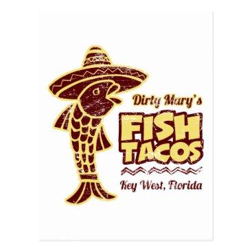 Beach Themed Fish Tacos Postcard