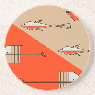 "FISH TALE Coaster 4.5"" PERSIMMON-SAND"