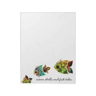 Fish Tales Collage Fish blue green Notepad