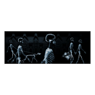 Fish Tank Background X-Ray Skeletons Town - Blue Poster