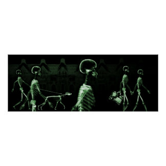 Fish Tank Background X-Ray Skeletons Town - Green Poster