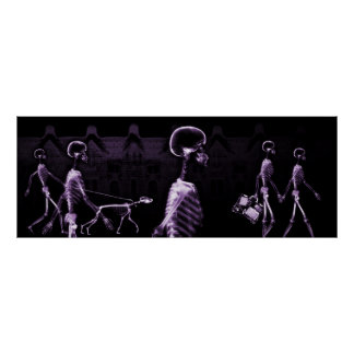 Fish Tank Background X-Ray Skeletons Town - Purple Poster