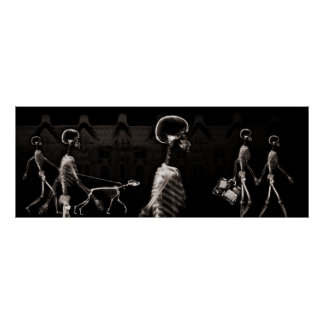Fish Tank Background X-Ray Skeletons Town - Sepia Poster