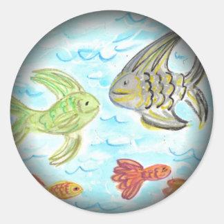 Fish Tank Classic Round Sticker