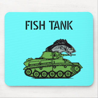 Fish Tank - Fish driving an army tank Mouse Pad