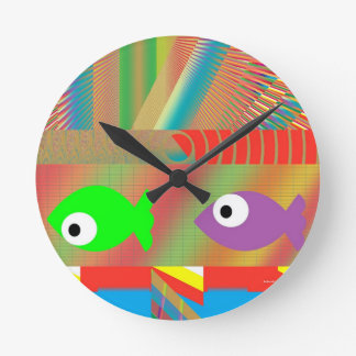 Fish Tank Party Round Clock