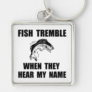 Fish Tremble Silver-Colored Square Keychain