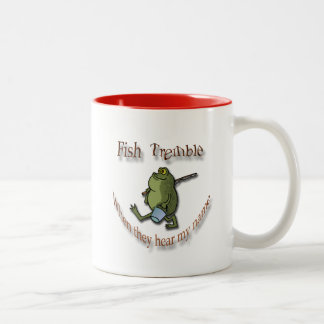 Fish Tremble When They Hear My Name  brown frog Two-Tone Coffee Mug