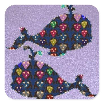 Professional Business Fish Trout Whale Shark Water Sea Animals aquarium Square Sticker