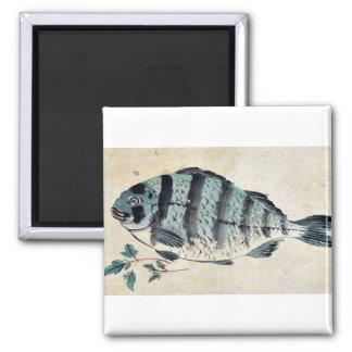 Fish Ukiyo-e. 2 Inch Square Magnet