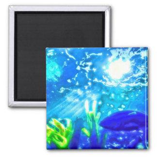 Fish Under The Sea 2 Inch Square Magnet