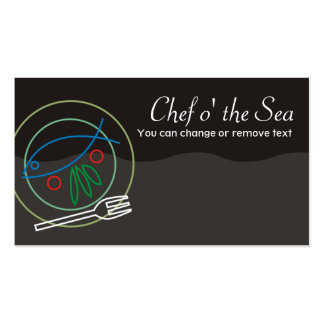 Fish vegetable dinner plate chef catering busin... Double-Sided standard business cards (Pack of 100)