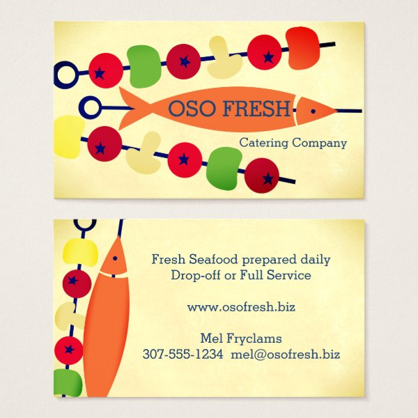 Fish vegetable kebab catering business cards