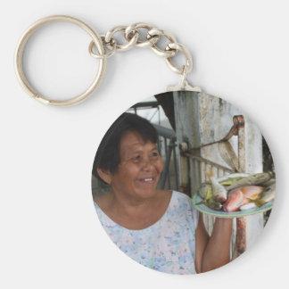 Fish vendor basic round button keychain