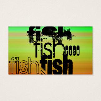 Fish; Vibrant Green, Orange, & Yellow Business Card