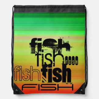 Fish; Vibrant Green, Orange, & Yellow Cinch Bags