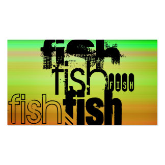 Fish; Vibrant Green, Orange, & Yellow Double-Sided Standard Business Cards (Pack Of 100)
