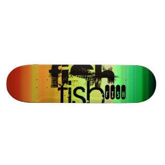 Fish; Vibrant Green, Orange, & Yellow Skateboard