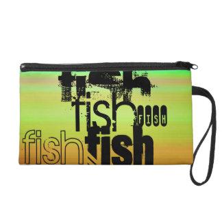 Fish; Vibrant Green, Orange, & Yellow Wristlet
