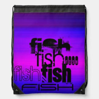 Fish; Vibrant Violet Blue and Magenta Drawstring Backpacks