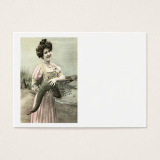 Fish Victorian Woman Pond Poisson d'avril Business Card