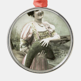 Fish Victorian Woman Pond Poisson d'avril Round Metal Christmas Ornament
