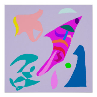 Fish Waves Shell Gray Sky Jump Composition Poster