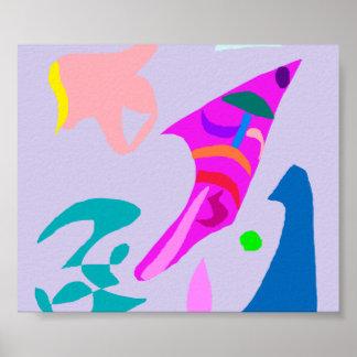 Fish Waves Shell Gray Sky Jump Composition Print
