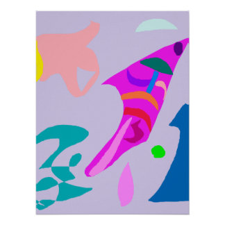 Fish Waves Shell Gray Sky Jump Composition Posters