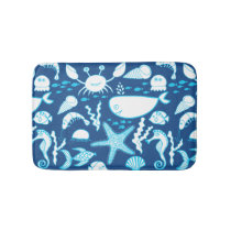 Fish Whale Crab Starfish Seahorse Under the Sea Bathroom Mat