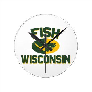 Fish Wisconsin Round Clock