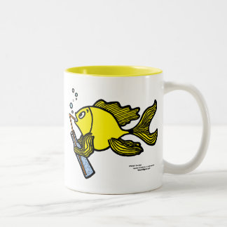 Fish with a Drink, Drinking Fish cute funny comics Two-Tone Coffee Mug