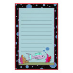 Fish with Bubble Border Lined Stationery