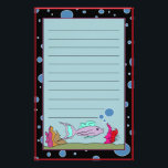 """Fish with Bubble Border Lined Stationery<br><div class=""""desc"""">A cute folk art design featuring a fish with colorful environs and a lined section for correspondence.  Also has an air bubble accented border. Available in unlined and plain border version too.</div>"""