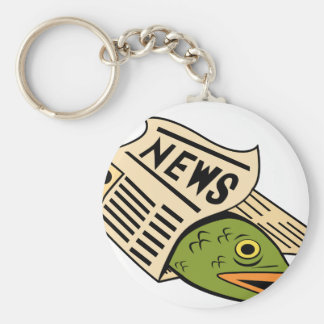 Fish Wrapped in Newspaper. Basic Round Button Keychain