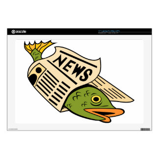 "Fish Wrapped in Newspaper. Decals For 17"" Laptops"