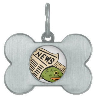 Fish Wrapped in Newspaper. Pet Tags
