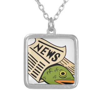 Fish Wrapped in Newspaper. Square Pendant Necklace