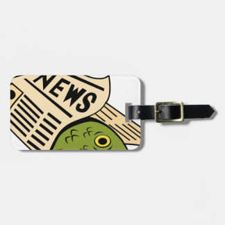 Fish Wrapped in Newspaper. Tag For Luggage