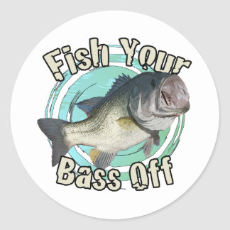 Fish your bass off classic round sticker