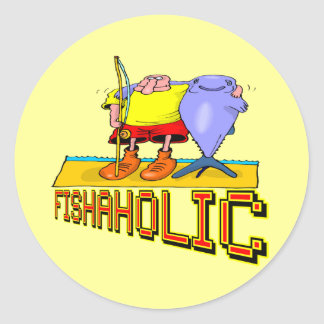 Fishaholic Fishing T-shirts and Gifts Round Stickers