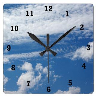Fishbone Cloud Square Wall Clock