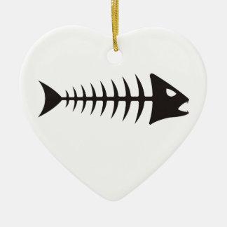 Fishbone - fish fishbone ceramic ornament