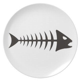 Fishbone - fish fishbone dinner plate