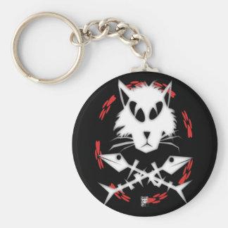 fishbone gato basic round button keychain