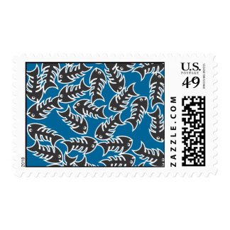 Fishbones Black Blue Postage Stamp