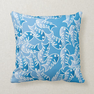 Fishbones Blue Pillow